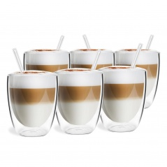 Szklanki termiczne 6szt. 320ml + 6 słomek szklanych Vialli Design Vita