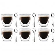 Szklanki termiczne do espresso 6szt 80ml + 6 łyżeczek Lambda