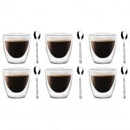 Szklanki termiczne do espresso 6szt 80ml  + 6 łyżeczek Gama