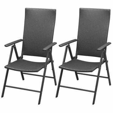 Sztaplowane krzesła ogrodowe, 2 szt., polirattan, czarne