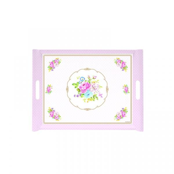 Taca z uchwytami Nuova R2S Vintage Bouquet różowa 200 PINK