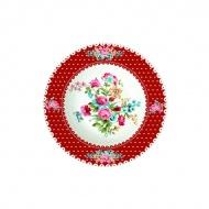 Talerz na zupę 21,5 cm Nuova R2S Jardin Secret czerwony brzeg