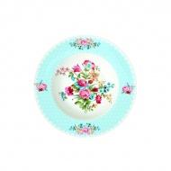 Talerz na zupę 21,5 cm Nuova R2S Jardin Secret niebieski brzeg