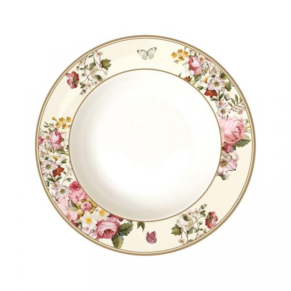 Talerz na zupę 22,5cm Nuova R2S Blooming Opulence biały 1360 BLOC