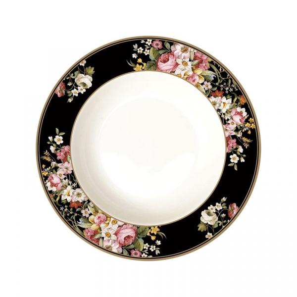 Talerz na zupę 22,5cm Nuova R2S Blooming Opulence czarny 1360 BLOB