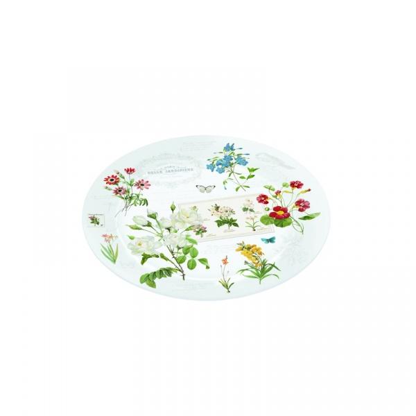 Talerz szklany 32cm Nuova R2S Romantic polne kwiaty 242 NATU
