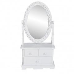 Toaletka z obrotowym, owalnym lustrem, MDF