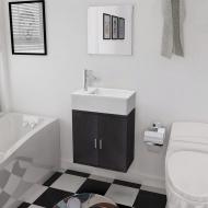 Trzyelementowy zestaw do łazienki z umywalką, czarny