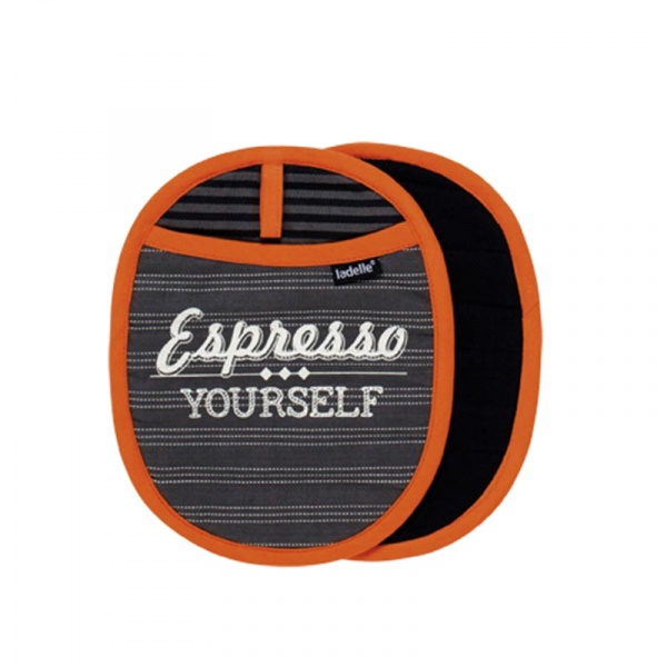 Uchwyt do gorących naczyń 2 szt. Ladelle Cafe Latte szaro-pomarańczowy LD42889