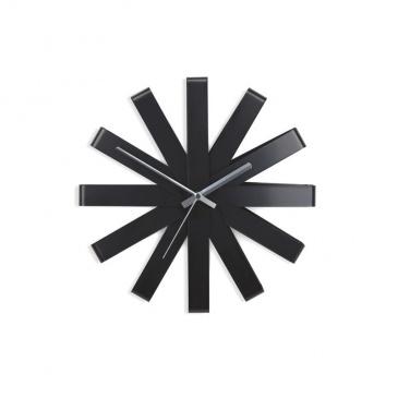 Zegar ścienny 32x8,5cm Umbra Ribbon czarny