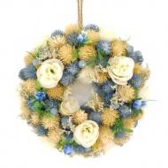 Wieniec niebieskie kwiaty 22x7 cm