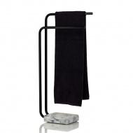 Wieszak na ręczniki marmurowy 27,5x17,5x82 cm Kela czarno-szary