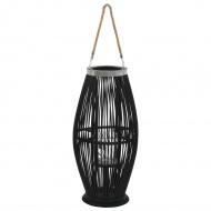 Wiszący lampion na świece, bambusowy, czarny, 60 cm