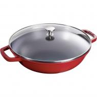 wok żeliwny z pokrywką 30 cm, czerwony