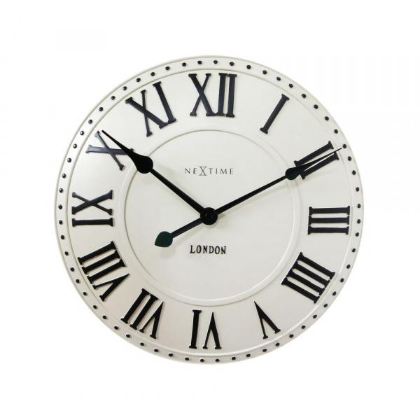Zegar 34,5 cm NeXtime London Roman biały 3083WI