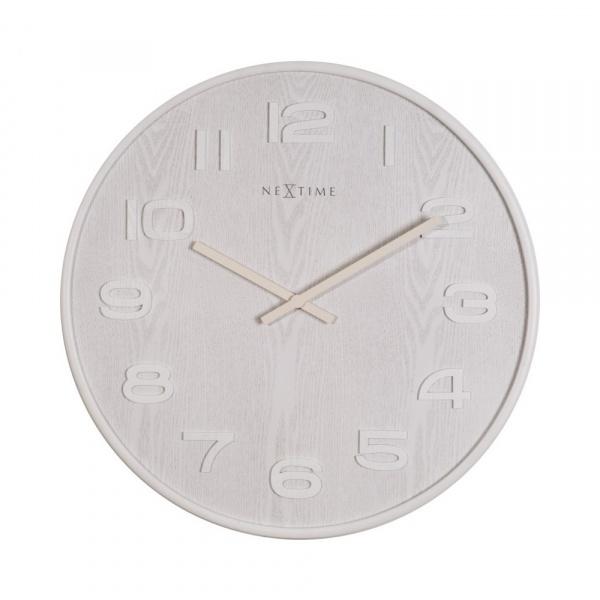 Zegar 35 cm NeXtime Wood Wood Medium biały 3096WI