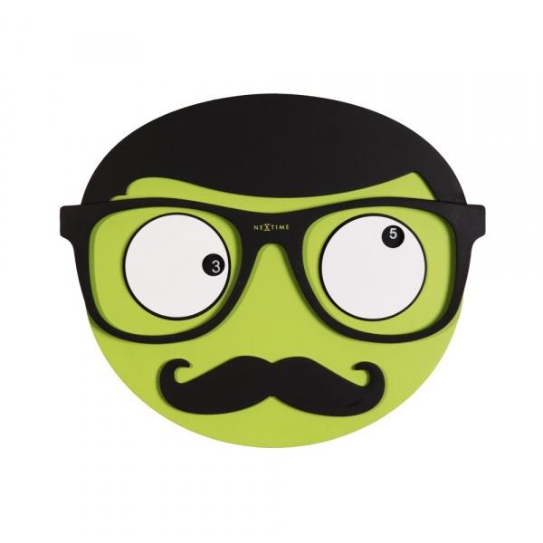 Zegar 37 x 31 cm NeXtime Mr. Mustache 3089