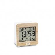 zegar cyfrowy z termometrem i kalendarzem, bambusowa rama, 7 x 7 x 3,5 cm