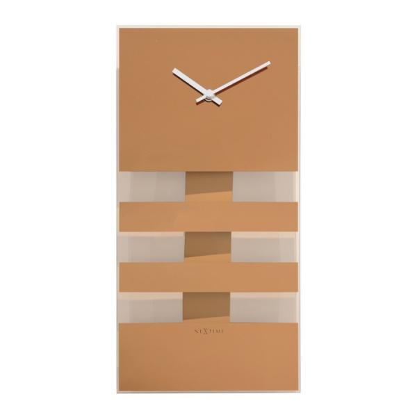 Zegar NeXtime Bold Stripes 19x38 cm miedziany 2855CO