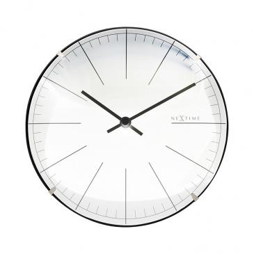 Zegar ścienny 20 cm Nextime Big Stripe Mini Dome biały