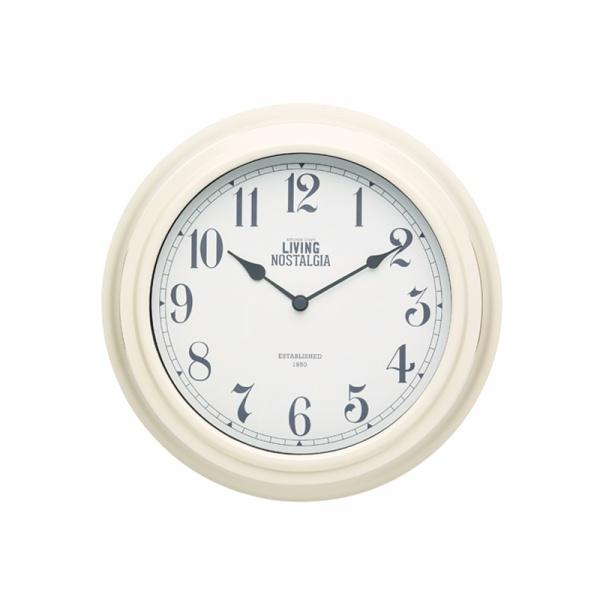 Zegar ścienny 25,5 cm Kitchen Craft Living Nostalgia kremowy LNCLOCKCRE