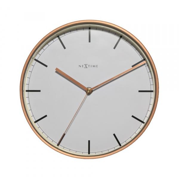 Zegar ścienny 30 cm NeXtime Company biało-miedziany 3121ST