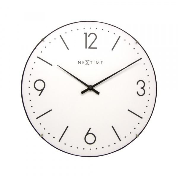Zegar ścienny 35 cm NeXtime Basic Dome biały 3157WI