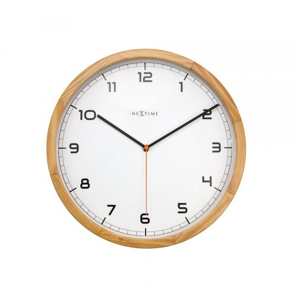 Zegar ścienny 35 cm NeXtime Company Wood jasny brąz 3154
