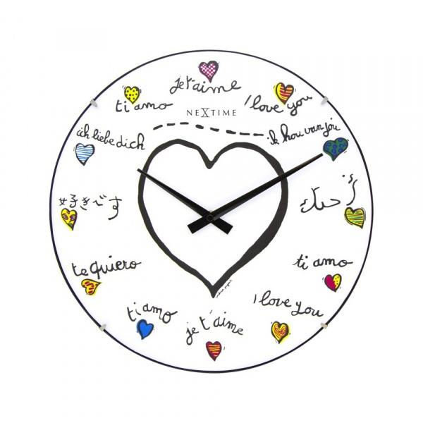 Zegar ścienny 35 cm NeXtime Loving You Dome 3160
