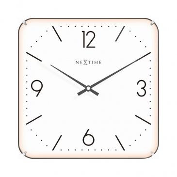 Zegar ścienny 35x35 cm Nextime Basic Square Dome biały