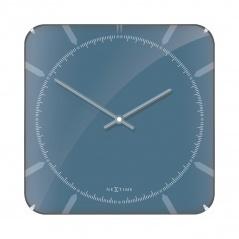 Zegar ścienny 35x35 cm Nextime Michael Square Dome niebieski