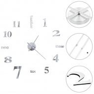 Zegar ścienny 3D, nowoczesny design, 100 cm, XXL, srebrny
