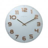 Zegar ścienny 50 cm Nextime Classy biało-miedziany