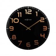 Zegar ścienny 50 cm Nextime Classy czarno-miedziany
