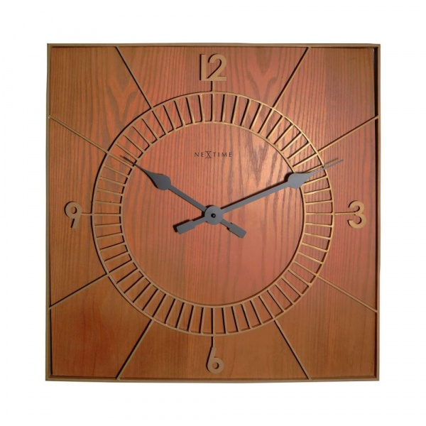 Zegar ścienny 50x50 cm NeXtime Wood Square 3112BR