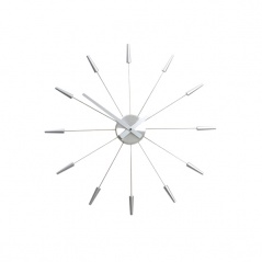 Zegar ścienny 60 cm Nextime Plug inn srebrny