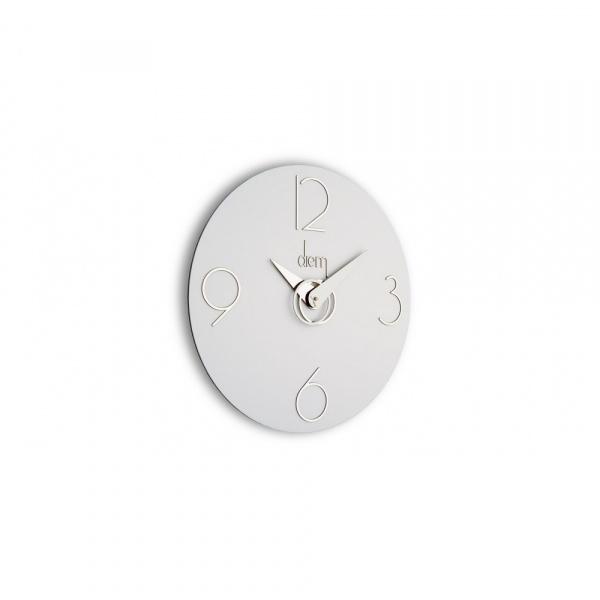 Zegar ścienny Incantesimo Design Diem srebrny biały 501 BN