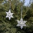Zestaw 2 białych gwiazdek świątecznych H-GWG-1102