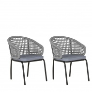 Zestaw 2 krzeseł szare/czarne PALMI