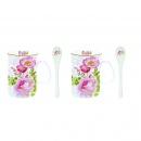 Zestaw 2 kubków z łyżeczkami Nuova R2S Floral Damask
