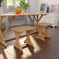 Zestaw 2 stołków, lite drewno tekowe, 42 x 35 x 45 cm