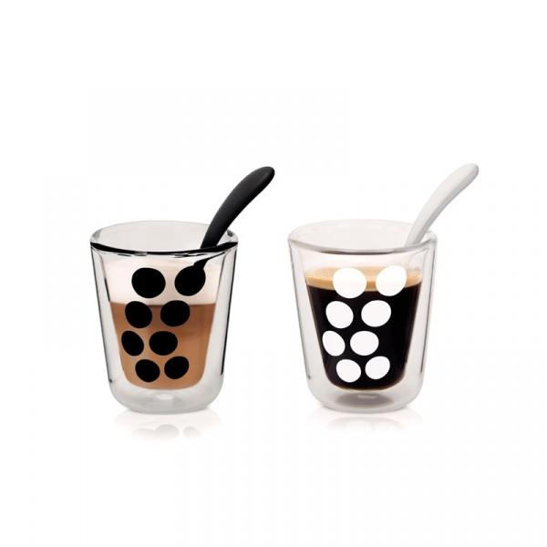 Zestaw 2 szklanek 200 ml z łyżeczkami Zak! Designs Dot 1500-R695