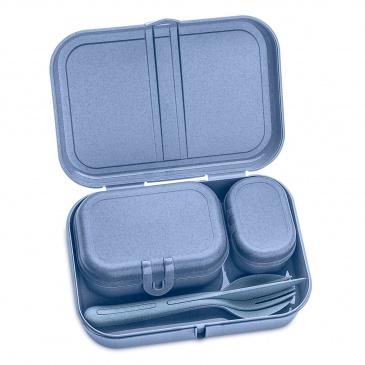 Zestaw 3 lunchboxów ze sztućcami Pascal ready organic blue 3168671