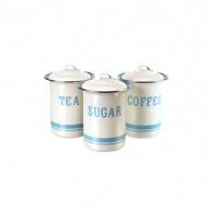Zestaw 3 pojemników na cukier, kawę, herbatę Jamie Oliver kremowo-błękitny