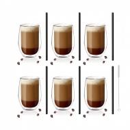 Zestaw 6 szklanek Amo 400ml i 6 słomek szklanych 20cm czarnych 7152