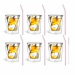 Zestaw 6 szklanek do whisky 300ml i 6 słomek szklanych 23cm różowych 7374