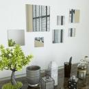Zestaw 7 kwadratowych luster ściennych, szklanych