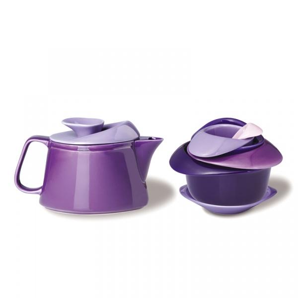 Zestaw do herbaty z czajniczkiem Rose Po: Trendy fioletowy 636