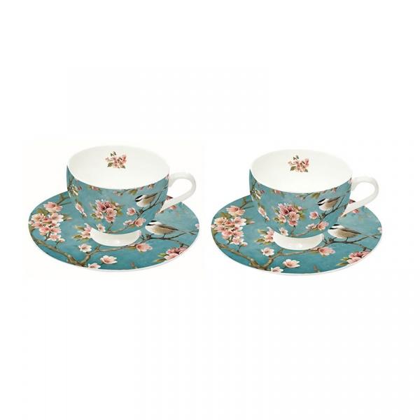 Zestaw filiżanek do espresso 2szt 75ml Nuova R2S Romantic niebieskie w kwiaty 328 BLOS