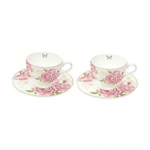 Zestaw filiżanek do espresso 2szt 75ml Nuova R2S Romantic różowe piwonie 328 CATE